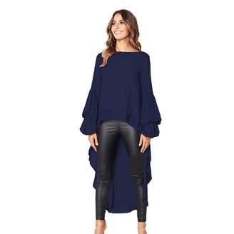Qixuan Women's Lantern Long Sleeve Round Neck High Low Asymmetrical Irregular Hem Casual Tops Blouse Shirt Dress XL