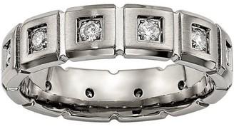 Primal Steel Titanium Brushed/Polished Grooved CZ Ring