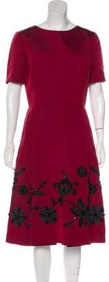 Oscar de la Renta Embroidered Midi Dress