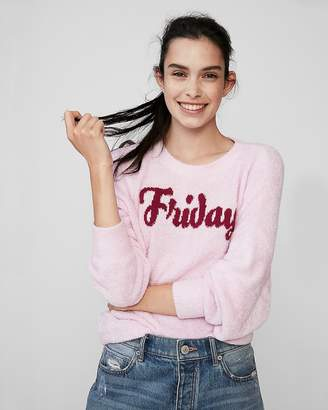 Express Velour Friday Pullover Sweater