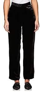 Juan Carlos Obando Women's Velvet Five-Pocket Crop Trousers-Black