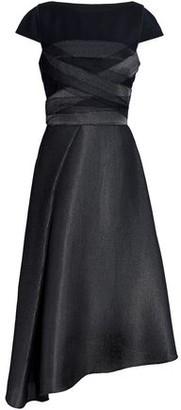 Amanda Wakeley Asymmetric Wool-blend Felt-paneled Mesh Midi Dress