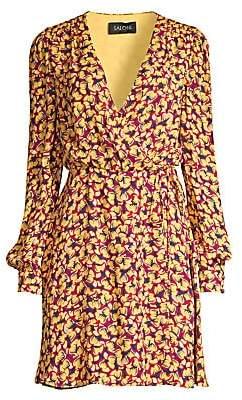 Saloni Women's Lea Print Wrap Dress - Size 0