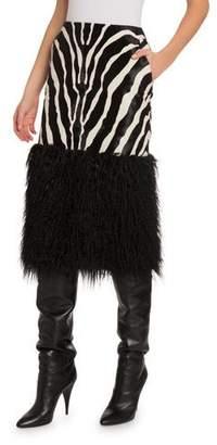 Saint Laurent Zebra Midi Skirt with Faux-Fur Trim