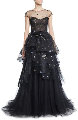 Monique Lhuillier Cap-Sleeve Glitter-Tulle Tiered Gown