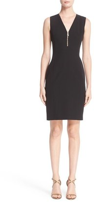 Women's Versace Front Zip Stretch Cady Dress $750 thestylecure.com