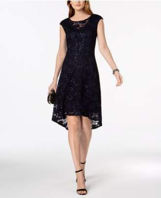 Connected Sequined Lace High-Low Dress