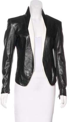 Theyskens' Theory Leather Open Front Jacket