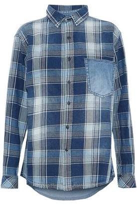 Current/Elliott Chambray-Paneled Checked Cotton-Twill Shirt