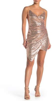 SEE THE SHADES Asymmetrical Surplice Sequin Mini Dress