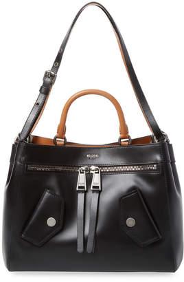 Moschino Zip & Snap Leather Satchel