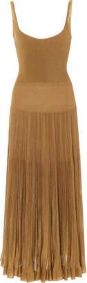 Ralph Lauren Pleated Lamé Midi Dress