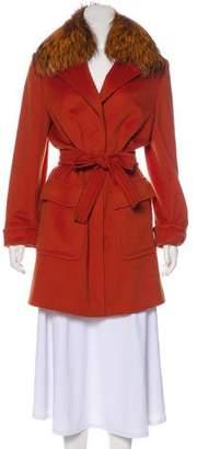 Les Copains Fur-Trimmed Wool Coat