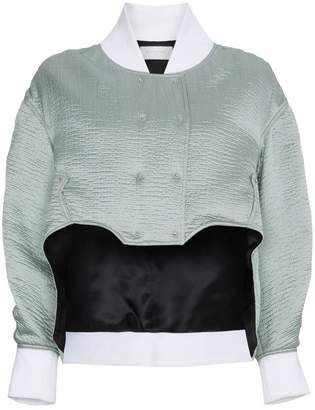 Esteban Cortazar cropped silk bomber jacket