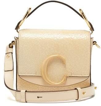 Chloé The C Mini Cracked Leather Shoulder Bag - Womens - Cream