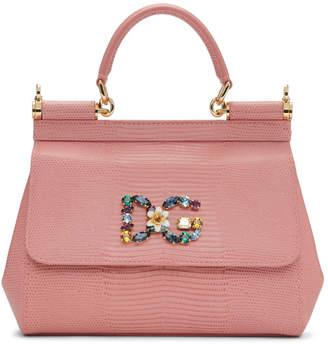 d7d4bf6f7cc0 Free Shipping at SSENSE · Dolce   Gabbana Pink Iguana Small Miss Sicily Bag