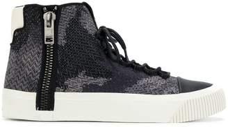 Diesel camouflage print hi-top sneakers