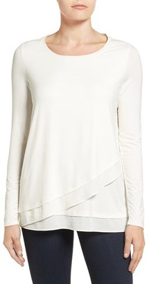 Women's Nydj Layered Front Mixed Media Knit Top $88 thestylecure.com