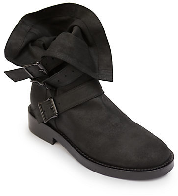 Ann Demeulemeester Fold-Over Leather Buckle Boots