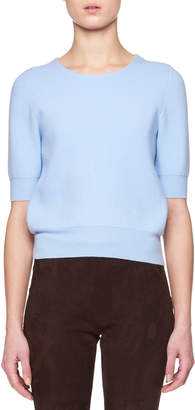 The Row Lorin Crewneck Short-Sleeve Wool-Cashmere Sweater
