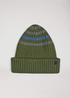 Emporio Armani Beanie In Striped Cotton Knit