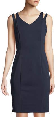 Neiman Marcus V-Neck Scuba Knit Sheath Dress