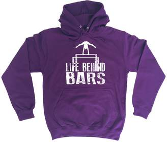 123t Slogans 123t Life Behind Bars Gymnast Gymnastic Hoody Fitness Gym Top Workout Exercise Sport Athletic Parallel Bars Birthday Gift Christmas Present HOODIE