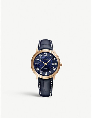 Raymond Weil Maestro gold-plated stainless steel and leather watch