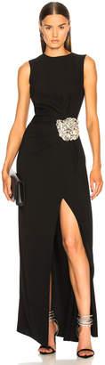 Oscar de la Renta Crystal Embellished Gown in Black & Silver | FWRD