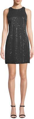 Aidan Mattox Sequin & Bead Halter Mini Dress