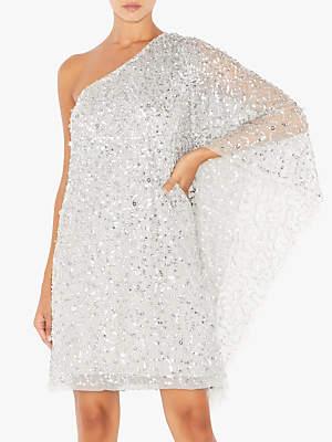 Adrianna Papell Short Beaded Kaftan Dress, Silver