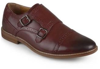 Territory Mens Buckle Cap Toe Faux Leather Double Monk Strap Dress Shoes