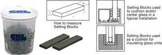 """CR Laurence CRL 1/16"""" x 1/2"""" x 2"""" Neoprene Setting Blocks - 100 Pack"""