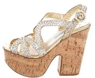 Prada Braided Platform Sandals