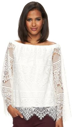 Women's Apt. 9® Lace Off-the-Shoulder Top $40 thestylecure.com