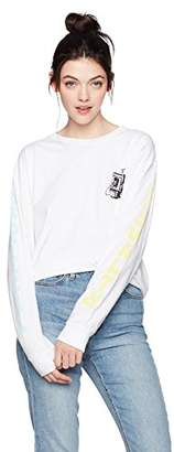 Obey Women's Tropical Casuality Boyfriend Fit Long Sleeved Crew Neck Tee
