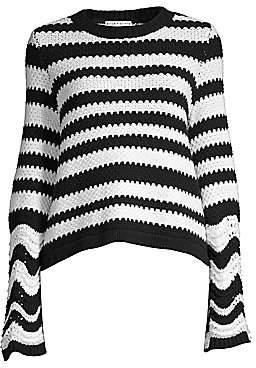 Alice + Olivia Women's Alivia Striped Bell Sleeve Sweater
