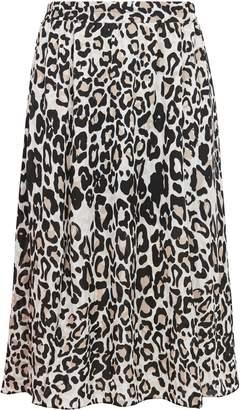 WallisWallis PETITE Neutral Animal Print Split Skirt
