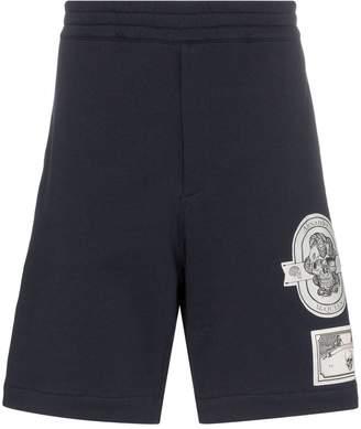 Alexander McQueen Skull patch cotton track shorts