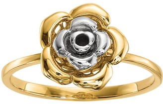 14K Gold Two-Tone Flower Ring