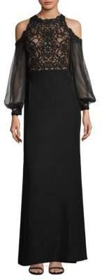 Tadashi Shoji Lace Cold-Shoulder Gown