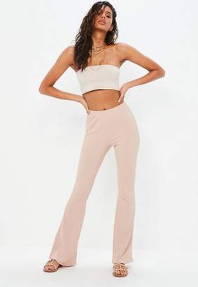 Missguided Pink Skinny Ribbed Kick Flare Pants