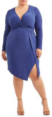 Paperdoll Women's Plus Size Long Sleeve Knot Front Envelope Hem Dress