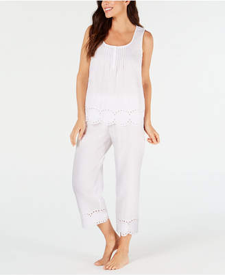 Charter Club Eyelet Lace Cotton Tank Top and Capri Pajama Pants Set