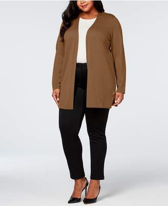 JM Collection Plus Size Grommet Lace-Up Cardigan