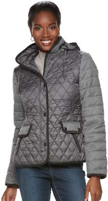 Gallery Women's Quilted Mixed-Media Puffer Jacket