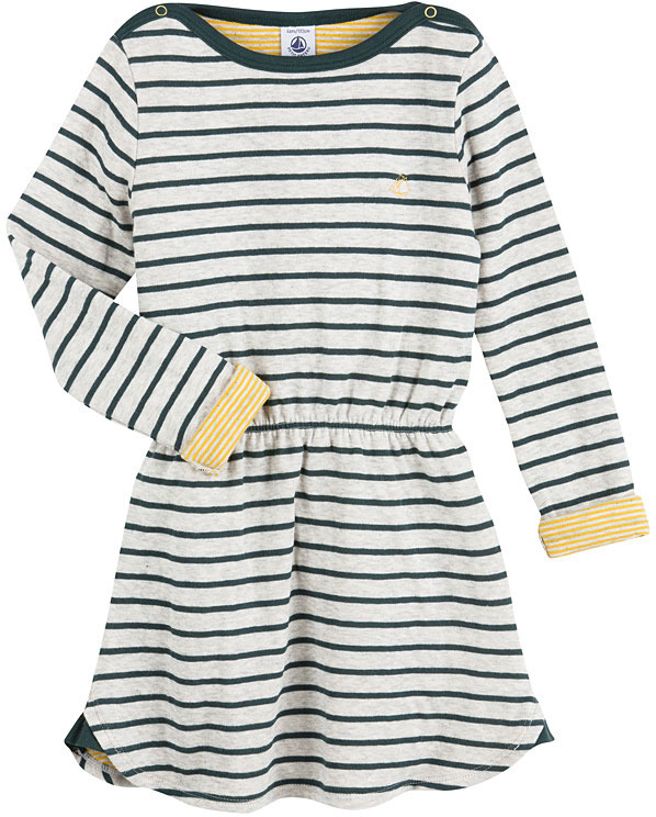 Petit Bateau Girl'S Long-Sleeved Striped Tube Knit Dress