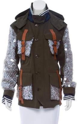 Rodarte Leather-Trimmed Embellished Jacket