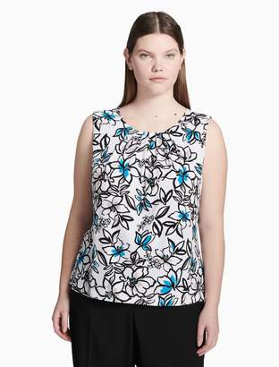 Calvin Klein plus size flower pleat neck top