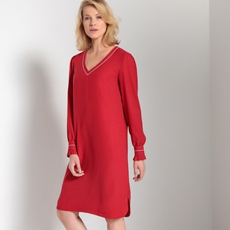 Anne Weyburn Long-Sleeved Straight Midi Dress